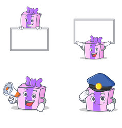 Set of gift character with board police megaphone vector