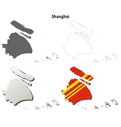 Shanghai blank outline map set vector