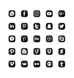 Social media icon set black white color vector