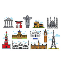 Spectacular famous architectural art creations vector