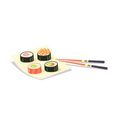 Sushi set and chopsticks near on white background vector