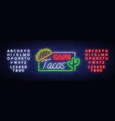 Taco logo neon sign on mexican food tacos vector