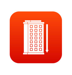 tall building and down arrow icon digital red vector image