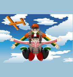tandem skydiving vector image