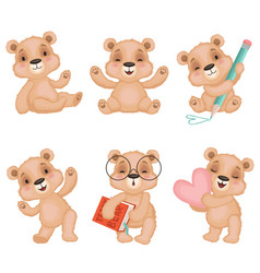 teddy bear characters fluffy cute toys for kids vector image