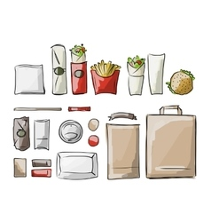 Tray with fast food sketch for your design vector
