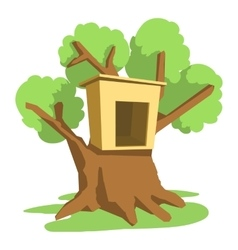 Tree house icon cartoon style vector image