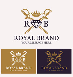 Two crossed swords and diamonds with crown logo vector