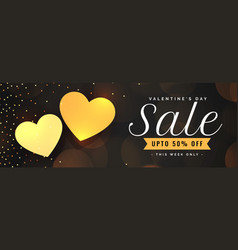 valentines day sale banner with two golden hearts vector image