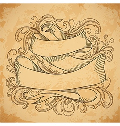Vintage ribbon with decorative elements vector