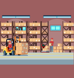 Warehouse interior people loaders working vector