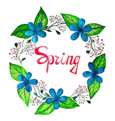 Watercolor spring wreath with blue flowers vector image