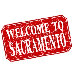 Welcome to sacramento red square grunge stamp vector