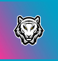 White tiger head esports logo vector