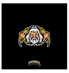 Zeus thunderbolt esport gaming mascot logo vector