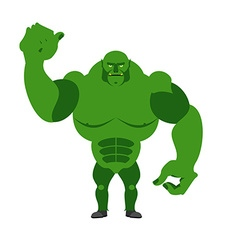 Angry Green Monster Scary Goblin big and strong on vector image