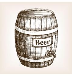 Barrel of beer sketch style vector image