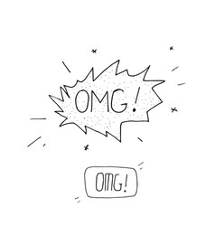 comic speech bubble with expression text omg vector image