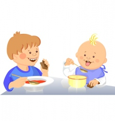 cute kids eating vector image vector image