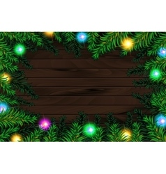 Frame of detailed christmas tree branches vector