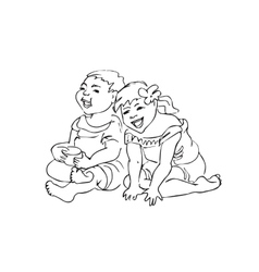 Laughing playing children vector image