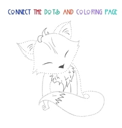 Connect the dots game fox vector image vector image