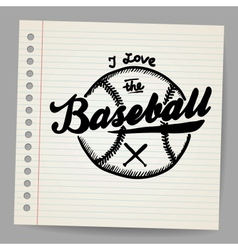 Doodle baseball design element vector image