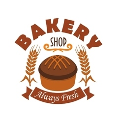 Fresh baked bread icon for bakery shop label vector image vector image
