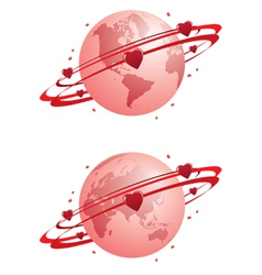 globe and hearts vector image