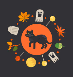 halloween cat concept in circle shape vector image vector image