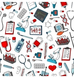 Medical items seamless pattern vector image
