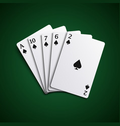Poker hand cards flush combination template vector