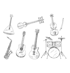 Sketchy musical instruments for arts design vector image