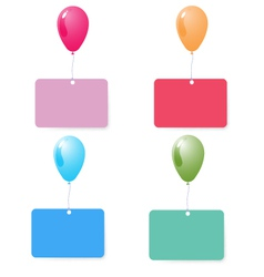 balloon with blank card set vector image vector image
