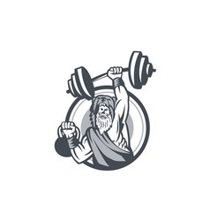 Berserker Lifting Barbell Kettlebell Circle Retro vector image