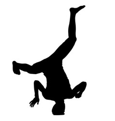black silhouettes breakdancer on a white vector image