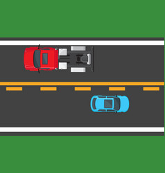 blue hatchback and red auto driving on highway vector image vector image