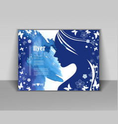 card with female face vector image