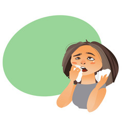 Cartoon woman with rhinitis having flu allergy vector