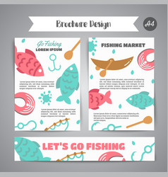 fishing brochure go fishing text banners with vector image