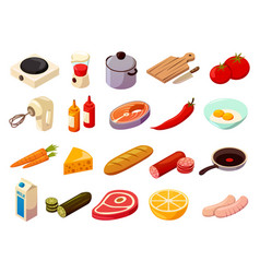 food cooking isometric icons vector image vector image