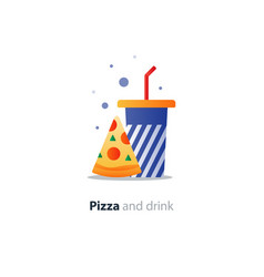 high glass of drink with piece of pizza fast food vector image vector image