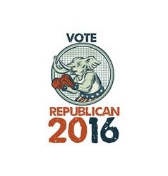 Vote Republican 2016 Elephant Boxer Etching vector image vector image