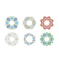 Colorful ethnic cirular frames set vector image vector image