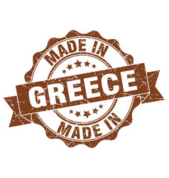 made in greece round seal vector image vector image
