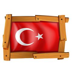 turkey flag in wooden frame vector image vector image