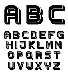 3D black simple font alphabet letters vector