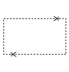 a cut out coupon rectangle shape with scissors vector image