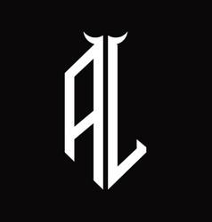 Al logo monogram with horn shape isolated black vector