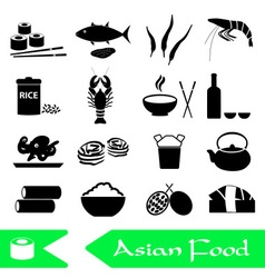 Asian food theme set of simple icons eps10 vector
